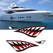 Outdoor Yacht Shark Sticker Outdoor Sticker Shark Teeth Decals Sticker Fishing Boat Canoe Kayak Graphics Accessories Car Wish
