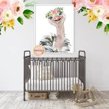 Boho Ostrich Wall Art Print Nursery Baby Girl Zoo Feathers Room Floral Pink Forest Cafe