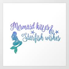 Mermaid Kisses Starfish Wishes Art Print By Jennsview Society6