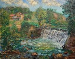 "Ada Wolfe, ""Rapids in Jordan, Minnesota"" 1940 oil on canvas 35 inches x 44  inches 