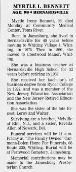 Myrtle Bennett Obituary - Newspapers.com