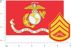 Amazon Com Marine Corps Flag Usmc W Ssgt Rank Staff Sergeant Vinyl Decal Sticker For Cars Trucks Laptops Etc 3 22x5 Red Full Color Full Color Automotive