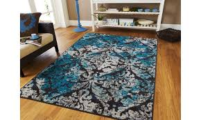 blue cream modern living room rug 8x10