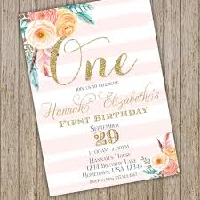 Invitaciones Floral Es De Primer Cumpleanos 1a Chica De Etsy
