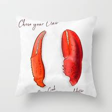 Claw, Crab vs Lobster Throw Pillow ...