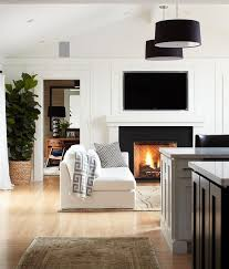 clean lined mantel tv above