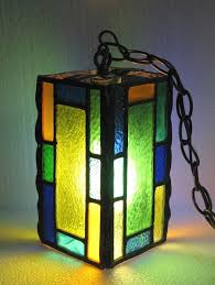vintage leaded stained glass hanging