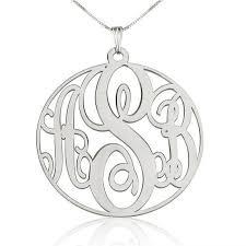 silver circle monogram necklace