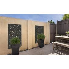 Modinex 5 Ft X 3 Ft Framed Charcoal Gray Decorative Composite Fence Panel Featured In The Leaf Design Usamod3cf The Home Depot