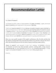 free letter of remendation templates