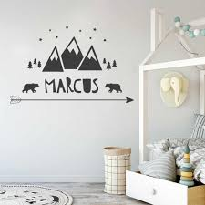 Personalized Kids Wall Sticker For Baby Nursery Name Decal Scandinavian Arrow Stars Bears Trees Mountains Vinyl Wall Decal A01 Wall Stickers Aliexpress