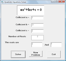 equation solver created with visual basic