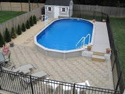 Unique Semi Inground Pools And Their Installation Cool Semi Inground Pool Paved Ground Ornamental Plants Above Ground Pool Decks In Ground Pools Pool Paving