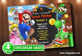 Invitacion Mario Bros Editable Gratis Mega Idea