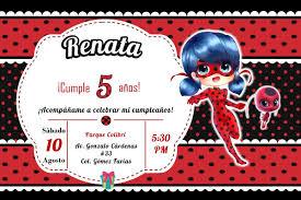 Invitacion Infantil Cumpleanos Miraculous Ladybug Imprimible