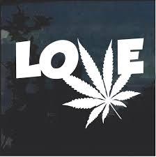 Love Marijuana Cannabis Leaf Window Decal Sticker Custom Sticker Shop