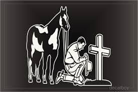 Cowboy Kneeling Cross Decals Stickers Decalboy