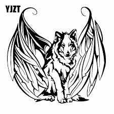 Yjzt 18 8x18 4cm Modern Art Vinyl Decal Wolf With Wings Angel Dog Pet Car Stickers Black Silver C24 1443 Car Stickers Aliexpress