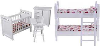 Amazon Com Baoblaze 1 12 Dollhouse Kids Room Furniture Accessories Wooden Bunk Bed Nursery Cradle Toys Toys Games