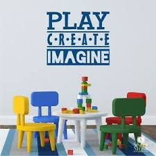 Play Create Imagine Wall Decal Quote Vinyl Wall Sticker Art Ebay