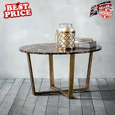 luxury marble coffee table metal round