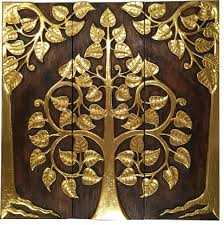 relief wall art panels gold wood carved