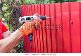 Metal Fence Installation Work Man Gloves Stock Photo Edit Now 691840225