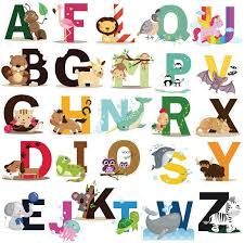 Amazon Com Animal Alphabet Decals Abc Wall Decals Stickers Peel And Stick Vinyl A Z Alphabet Wall Decor For Kids Nursery Baby Room Style 1 Arts Crafts Sewing