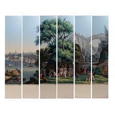 rare hand painted zuber wallpaper panels