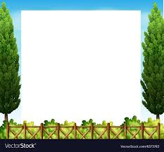 Border Design With Tree And Fence Royalty Free Vector Image