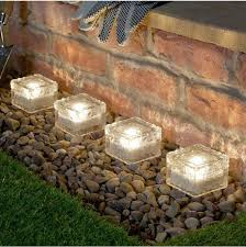 4 warm white solar garden glass brick