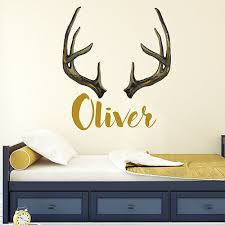 Girl Name Flowers Wall Decal Nursery Vinyl Sticker Horns Deer Rustic Decor Aa445