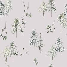 botanical weed wallpaper furniture