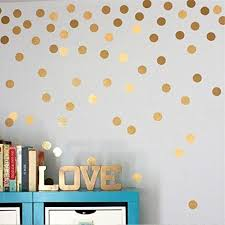 Yanqiao Gold Wall Decal Dots Easy Peel Stick And Safe On Walls Paint Removable Vinyl Polka Dot Deco Polka Dot Wall Decals Polka Dot Wall Decor Polka Dot Walls