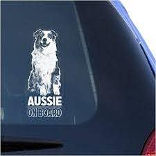 Amazon Com Aussie Clear Vinyl Decal Sticker For Window Australian Shepherd Dog Sign Art Print Arts Crafts Sewing