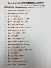 chemistry worksheet balancing equations