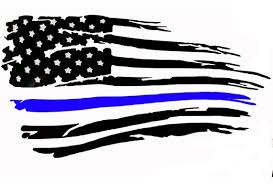 Thin Blue Line American Flag Tattered Distressed Police Decal Etsy