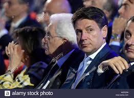 Sergio Mattarella and Giuseppe Conte during the Ania 2019 assembly ...