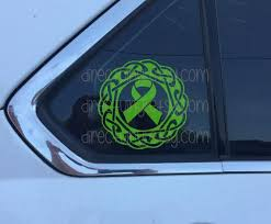 Green Awareness Ribbon Celtic Knot Design Window Decal Etsy