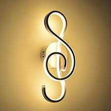 Litfad Contemporary Led Wall Sconce Music Note Design Decorative Wall Lamp White Finish For Kids Bedroom Children Room And Living Room Amazon Com