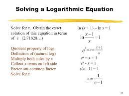 solving natural logarithmic equations