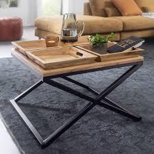 Couchtisch Holz Metall Quadratisch