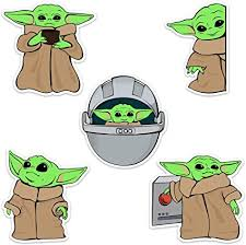 Amazon Com Baby Yoda Waterproof Vinyl Laptop And Water Bottle Decal Sticker Pack Arts Crafts Sewing