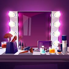 makeup square mirror with lamps bulb