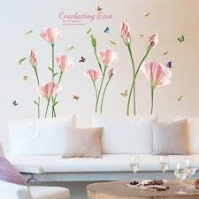 Amazon Com Wmdecal Removable Large Lily Flower Wall Vinyl Decals For Tv Wall Easy To Apply Peel And Stick Wallpaper Art Stickers For Living Room Red Home Kitchen