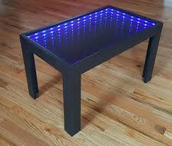 infinity mirror black coffee table