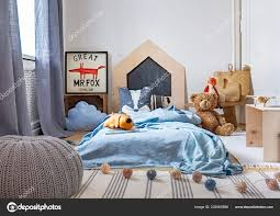 Grey Pouf Carpet Child Bedroom Interior Plush Toy Next Blue Stock Photo C Photographee Eu 232567688