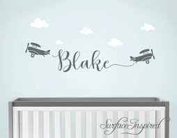 Custom Name Wall Decal Personalized Name Wall Decal With Airplanes B Surface Inspired Home Decor Wall Decals Wall Art Wooden Letters
