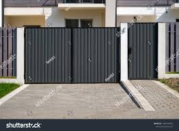 New Metal Gates Fence Front House Stock Photo Edit Now 1180173655
