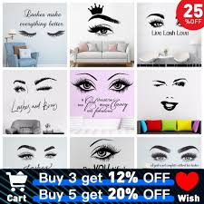 Beauty Salon Eye Lashes Live Love Wall Sticker Home Decoration Eyes Quotes Wallpaper Waterproof Wall Decoration Murals Decal